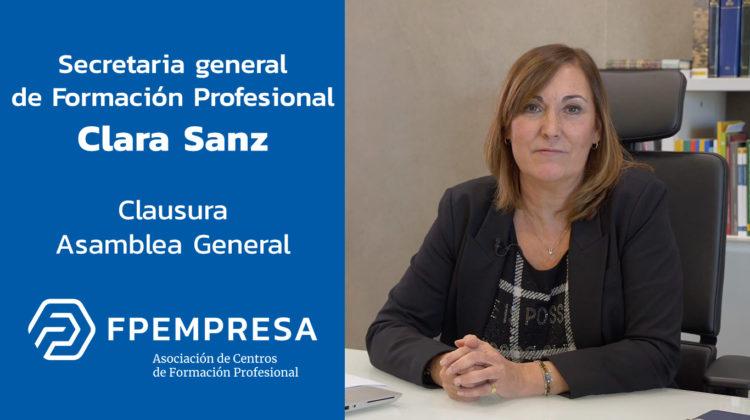 Clara Sanz participa en la clausura de la Asamblea General de FPEmpresa