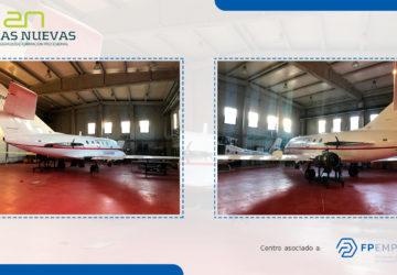 El CIFP Aguas Nuevas centro de referencia nacional en formación aeronáutica recibe un Falcon 20